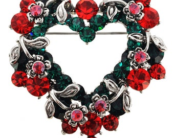 Vintage Style Heart and Flower Wreath Brooch 1003731