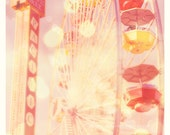 ferris wheel photo, Santa Monica pier, Carnival Lights red yellow pink, baby nursery, kids room California summer beach, LA photography