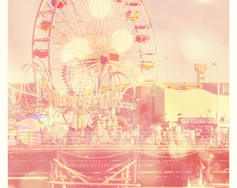 ferris wheel photograph, beach pier photo, carnival fun, Pacific Park, Santa Monica, summer vacation, seaside, whimsical pink nursery art