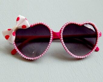 Pink Heart Sunglasses with Pearls and Polka Dot Bow, Rockabilly Sunglasses, Pinup Sunglasses, Retro Sunglasses, Cute Sunglasses, WomensF
