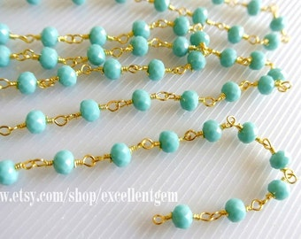 3-10 feet Bulk price Wire Wrapped Beaded Chain 24k gold plated Rosary chain Turquoise color faceted beads size 4*6 jewelry making-ARC-013