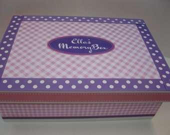 Girl's Personalized Diagonal Gingham Keepsake Box- Pink Gingham and Lavender Polka Dot