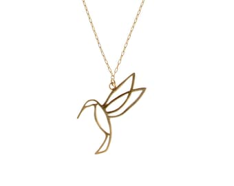Gold Plated Necklace, Delicate Necklace, Elegant Necklace, Hummingbird Jewelry, Nature Inspired, Bird Necklace, Dainty Necklace, Hummingbird