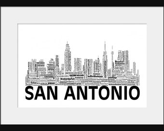 San Antonio Skyline  - Word Art Typography Black and White - Typographical Print Poster