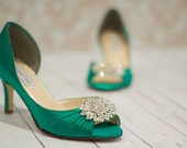 Emerald Green Shoes - Wedding - Bridal - Heels - Crystals - Dyeable Shoes - Over 200 Color Choices - Irish Wedding - Choose Your Heel Height