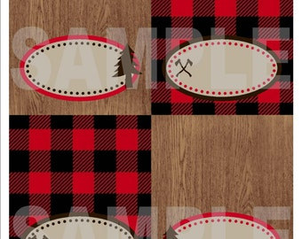 Lumberjack Buffalo Plaid Food Tent Labels