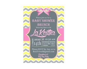 Pink, Grey & Yellow Chevron Baby Girl Shower Brunch Invite
