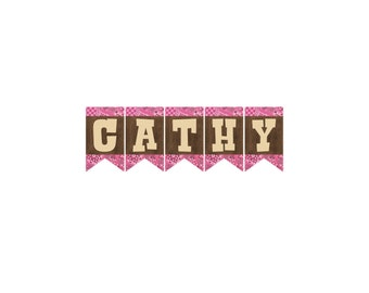 Cowgirl Birthday Custom Name Add On For Banner