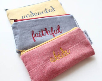 one little word embroidered pouch -- choose your own OLW
