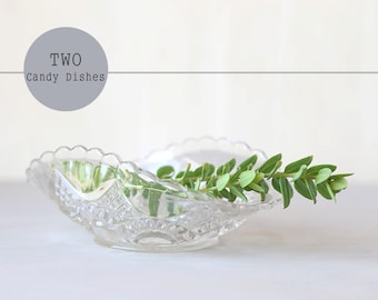 Two Vintage Glass Dishes - Candy Dish and Butter Dish