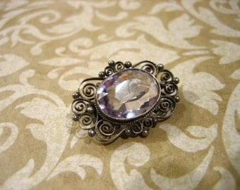 Antique Victorian Silver Filigree Pin Lavender Faceted Stone