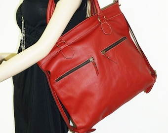 """Red leather tote bag, leather handbag, leather shopper tote, leather cross-body bag Eliora 15"""""""