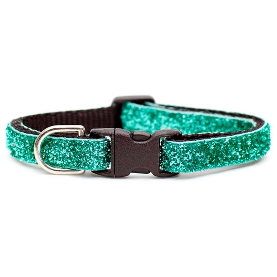 "Cat Collar - ""The Prom Queen"" - Teal Sparkle"