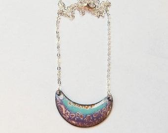 Colorful bohemian jewelry Crescent bib necklace Unique enamel jewelry Aqua and purple enamel necklace
