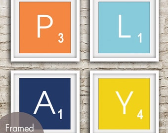 PLAY - Set of 4 - ART Prints (Featured in Crimson Orange, Maliblu, Navy and Canary Yellow) Modern Game Board