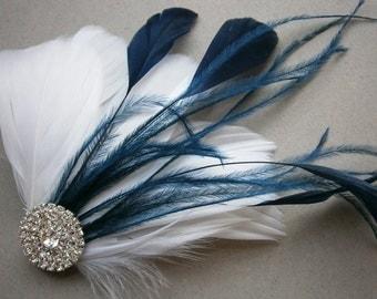 White, Navy, Wedding, hair, accessory, Bridal, Accessories, Feather, hair clip, fascinators, Bride - NAVY WEDDING