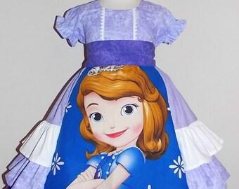 Sofia the first ruffle Puffy Sleeve Dress