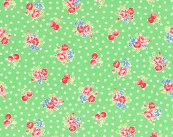 SALE 1/2 yard  Lecien Flower Sugar Fall 2014 small cherries and roses on green 31028L-60