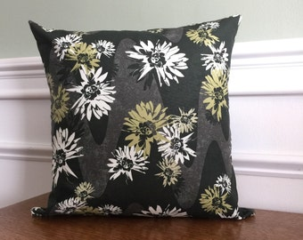 Throw Pillow Cover - Pillow Sham - Decorative Pillow - Floral Print - Designer Cotton Fabric - 14 16 18 inch - Green white flowers on black