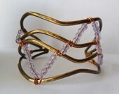 Brass Wire Bangle Bracelet with Purple Glass Crackle Beads Womens Cuff