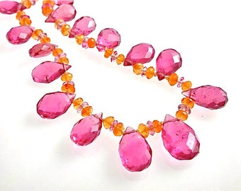 Pink Tourmaline Necklace -  Beautiful Tourmalines, One of a kind, Hot Pink Briolettes and Orange Opal Necklace, October Birthstone