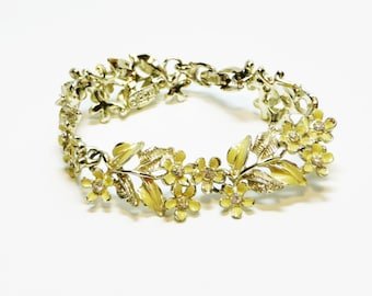 Yellow Flowers Bracelet - Signed Karu - Vintage Hinged Linky - Rhinestone Flowers Jewellery