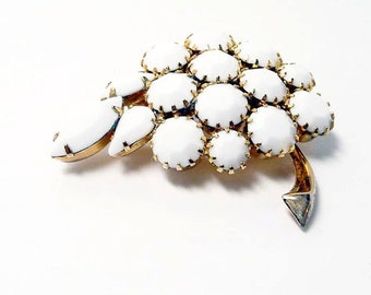 White Cluster of Grapes Brooch - Vintage Pin