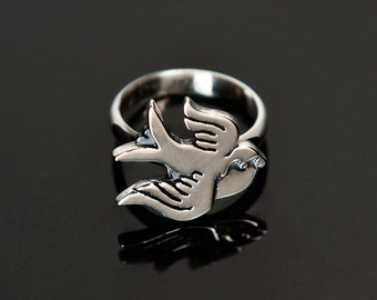 Ring swallow sterling silver / bird / 925 / nature / valentine gift