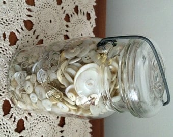 Jar of Vintage Buttons / Shades of White Vintage Buttons / Large Lot of Buttons in Ball Jar / Antique Ball Jar with Buttons