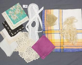 Linens 2 crochet lace doilies, Atlanta Georgia, tatted cup and saucer, 5 hankies, Linen tablecloth Soap bottle apron Lace yardage Destash