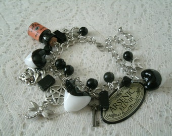 Magic Potion Pentacle Charm Bracelet, wiccan jewelry pagan jewelry wicca jewelry witch witchcraft goddess pentagram magic gothic occult