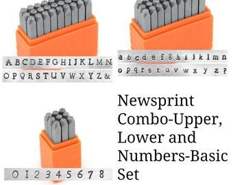 Basic Newsprint COMBO Upper, Lower and Numbers-3mm Alphabet Economy Impressart -Metal Stamp Set-
