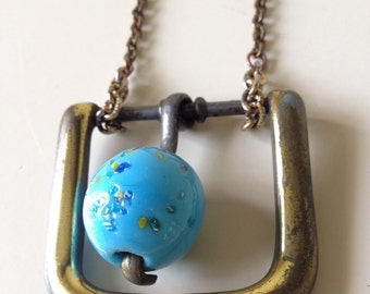 Brass Buckle Blue Necklace Upcycle Jewelry