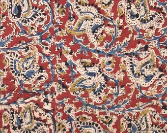 Hand Printed Cotton Fabric - Red Blue And Yellow Paisley Print - 1 yard - ctsm108