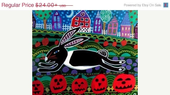 bunny rabbit art - FOLK ART Halloween Pumpkins Bunnies Art Poster Print of painting by Heather Galler of Painting