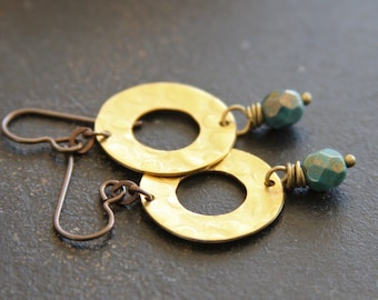 Teal Czech Glass and Hammered Brass Earrings, Round Earrings, Earthy Earrings, Teal Gold Earrings