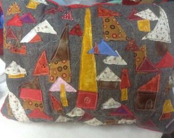 Quilted Art pillow, appliqué houses village