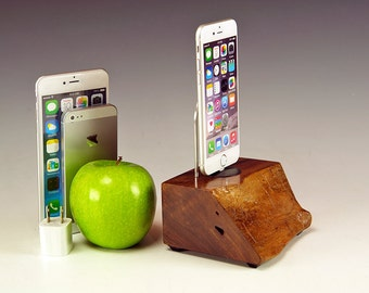 Walnut dock for any iPhone including 6 and 6 plus. INCLUDES wall charger. 736. Stunning grain and color. Sustainably harvested.