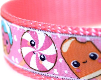 Candy Dog Collar, 1 inch width, Big Dog Collar, Pink Dog Collar, Girl Pet Collar