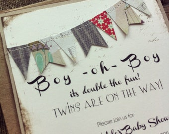 Handmade Baby Shower Invitation - Baby Boy Modern Rustic Bunting