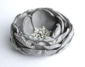 Grey Flower Hair Piece, Grey Flower Hair Clip, Flower Hair Clip, Bridal Hair Accessory, Bridesmaid or Flower Girl Hair, Flower For hair