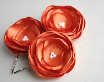 Orange Flower Hair Clips, Orange Flower Hair Pieces, Flower Hair Pins, Bridesmaid Hairpieces, Flower Girl Accessory, Floral Head Piece