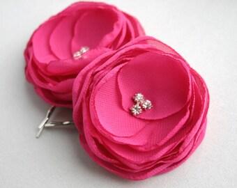 Pink Flower Hair Clips, Wedding Hair Piece, Hot Pink Flower, Bridesmaid Accessory, Flower Hair Pins, Flower Girl Hairpieces, Headpiece