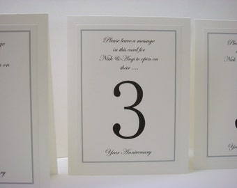 Wedding Table Number Guests Write an Anniversary Message to the Bride and Groom Inside