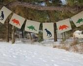 Dinosaur Burlap Banner, Party Decor, Dinosaur theme birthday, classroom decor, Trex, Stegasauraus, Triceretops, Dinosaur garland