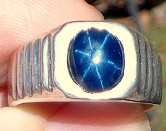 Sz 9.5, Men's Blue Star Sapphire, Man's Ring, Hand Crafted, Sterling Silver Ring, Natural Gemstone, Genuine Sapphire Ring