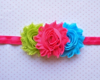 Lime Green, Turquoise and Hot Pink Baby Headband. Shabby Chic Headband. Girls Hair Accessories. Baby Girls Hair Accessories. Summer, Bright