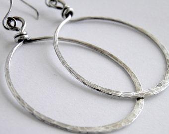 Sterling Silver Earrings, Large Sterling Silver Hoops ~  Oxidised Earrings Handcrafted Earrings Hammered & Oxidized Silver Hoop Earrings