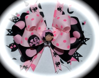 Pirate Princess Pink Black Polka Dot Custom Boutique toddlers girls Polymer Clay Hair Bow OOAK