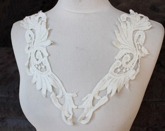 Cute venice  flower applique  white  color 2  pieces listing